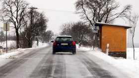 Silnice v zimě, ilustrační fotografie