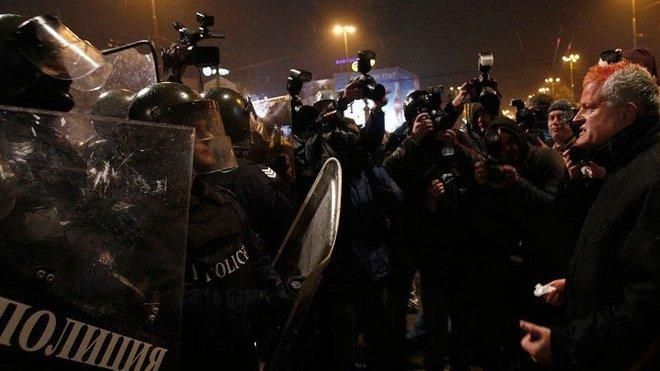 Demonstranti byli slyšet skandováním