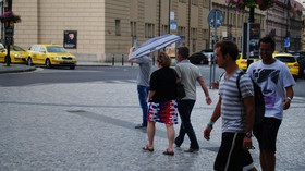 Déšť v ulicích Prahy