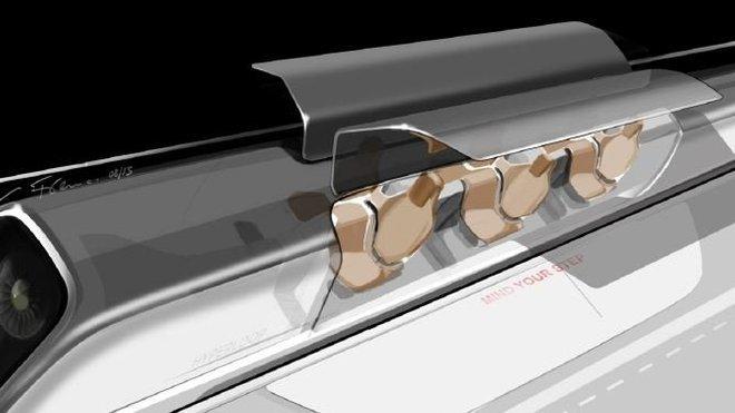 Vizualizace dopravní kapsle systému Hyperloop uvnitř tubusu