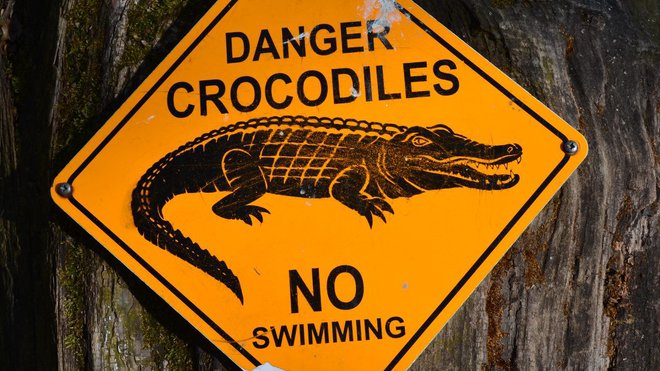 Nebezpeční krokodýli. Zákaz plavání. Varuje tato cedule