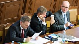 Lubomír Zaorálek /ČSSD, Andrej Babiš /ANO/ a Bohuslav Sobotka /ČSSD/.