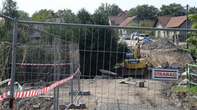 Zřícený most v obci Vilémov na Vysočině, zemřeli zde čtyři dělníci.