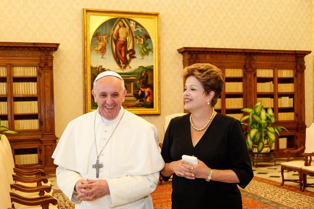 Dilma Rousseffová s papežem Františkem ve Vatikánu, 20. března 2013