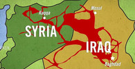 Islámský stát, mapa ukazuje získaná území v roce 2014.