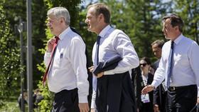 Summit G7 v Německu, kanadský premiér Stephen Harper, Dunald Tusk a David Cameron