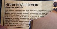"""Falzifikát článku """"Hitler je gentleman"""", který byl nalezen na Praze 10"""