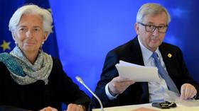 Christine Lagardeová, šéfka Mezinárodního měnového fondu (MMF) a Jean-Claude Juncker