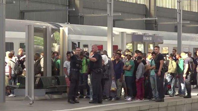 Uprchlíci na německém nádraží