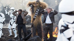 John Boyega, Peter Mayhew, Harrison Ford