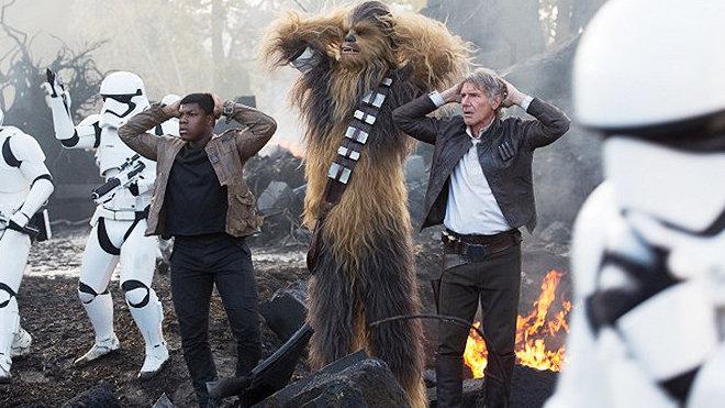 John Boyega, Peter Mayhew, Harrison Ford