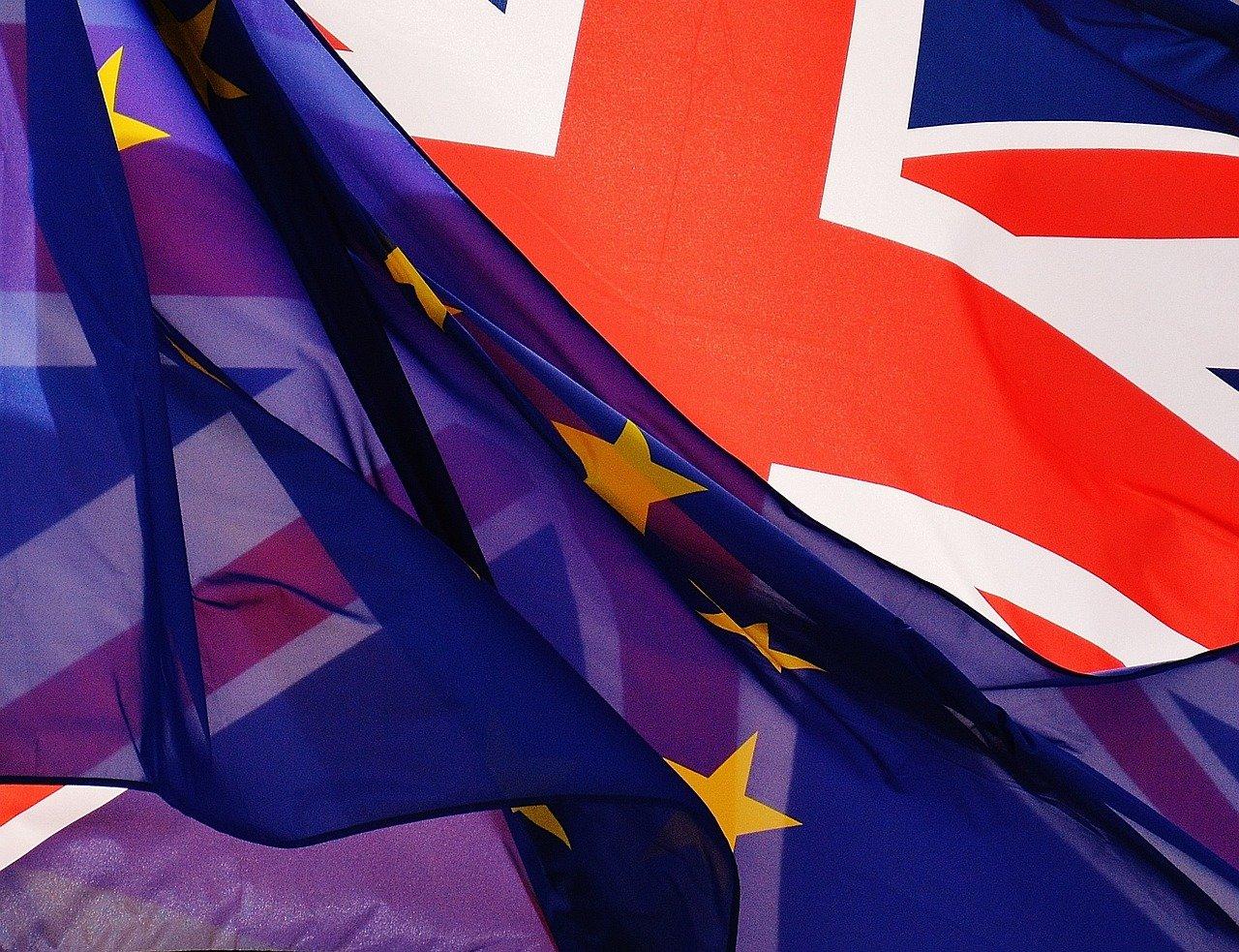 Vlajka Velké Británie a EU