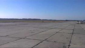Ukrajinský pilot málem zabil přihlížejícího diváka