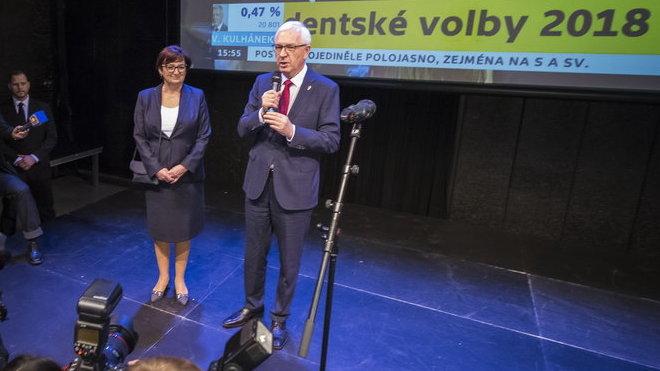 Jiří Drahoš ve volebním štábu