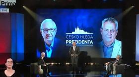 Komentář: Drahoš čelil Zemanově čtvrté cenové. Prima těžce nezvládla publikum, kandidáti dopadli i přes převahu prezidenta nerozhodně - anotační foto