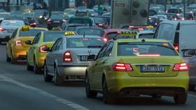 protest taxikářů proti Uber (Praha, 9.2.2018)
