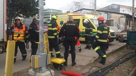 Srážka vlaků na hlavním nádraží v Brně