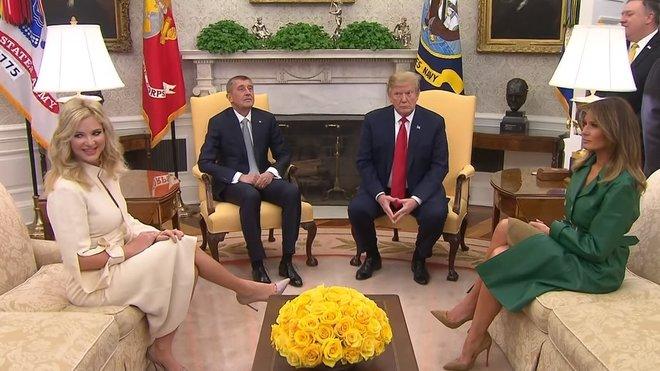 Donald Trump při jednání s českým premiérem Andrejem Babišem v Oválné pracovně Bílého domu (7.3.2019).