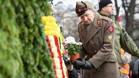 Na pochod veteránů jednotek SS v Rize letos přišlo tisíc lidí (16.3.2019)