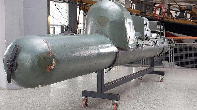 model torpéda s posádkou SLC v muzeu v Miláně
