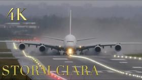 Takhle s letadly cvičila bouře Ciara