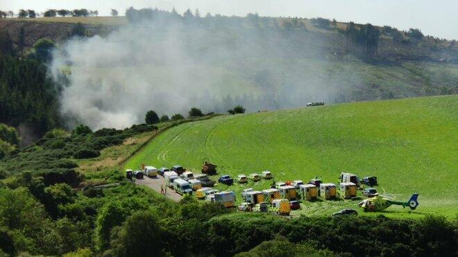 Záchranáři zasahují u nehody vlaku ve Skotsku. (12.8.2020)