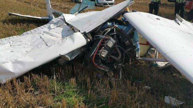 Na Kladensku se zřítilo malé letadlo. (4.9.2021)